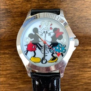 Authentic Disney watch - black patent leather band